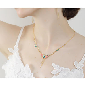 Chain Necklace With Butterfly Pendants necklace Vinty Jewelry