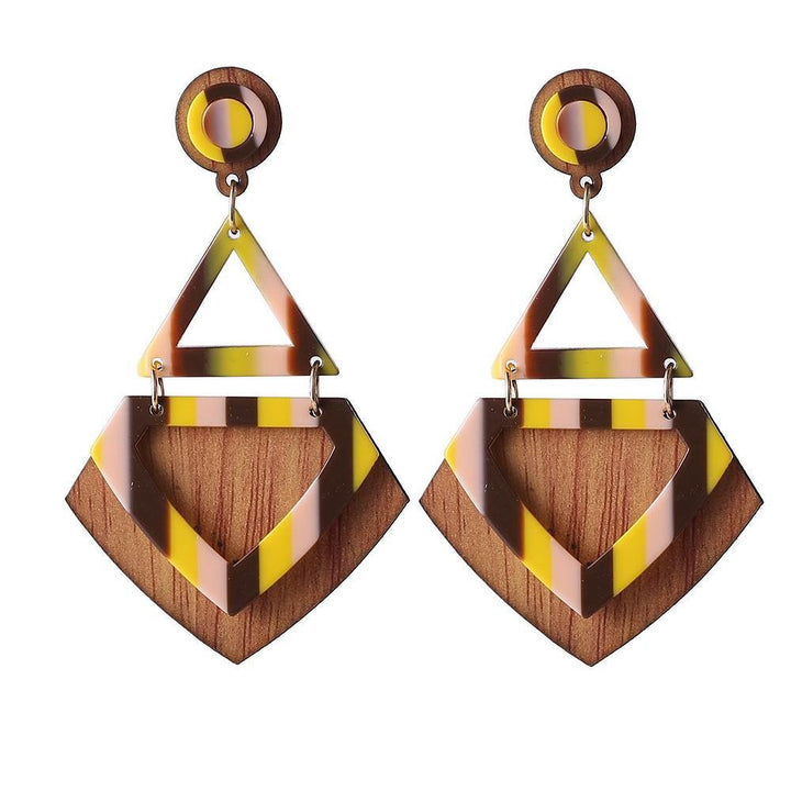 Chic Geometric Resin Wooden Earrings earrings vintyjewelry yellow