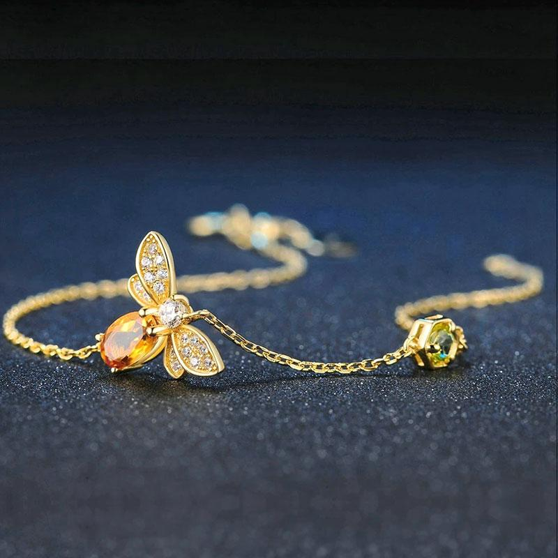 Citrine Honey Bee Bracelet bracelet Vinty Jewelry Gold Plated