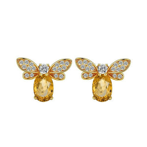 Citrine Honey Bee Earrings earrings Vinty Jewelry