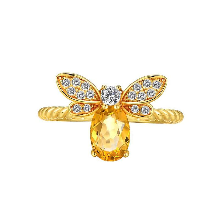 Citrine Honey Bee Ring ring Vinty Jewelry