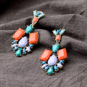 Colorful Gemstone Dangle Earrings earrings Vinty Jewelry