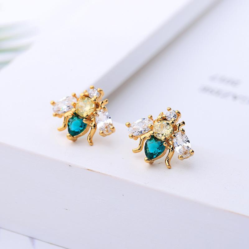 Crystal Bee Stud Earrings earrings Vinty Jewelry