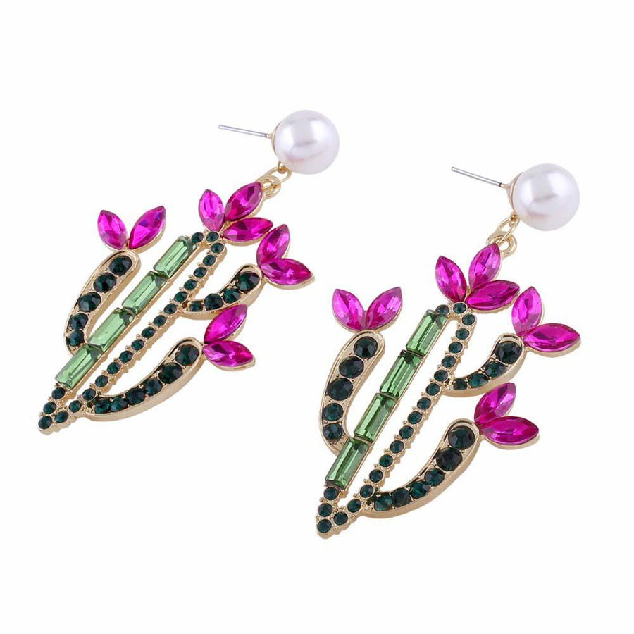 Crystal Cactus in Bloom Dangle Earrings earrings Vinty Jewelry