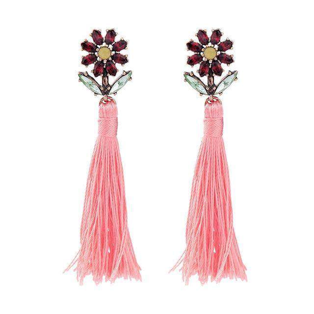 Crystal Flower Long Tassel Earrings earrings Vinty Jewelry
