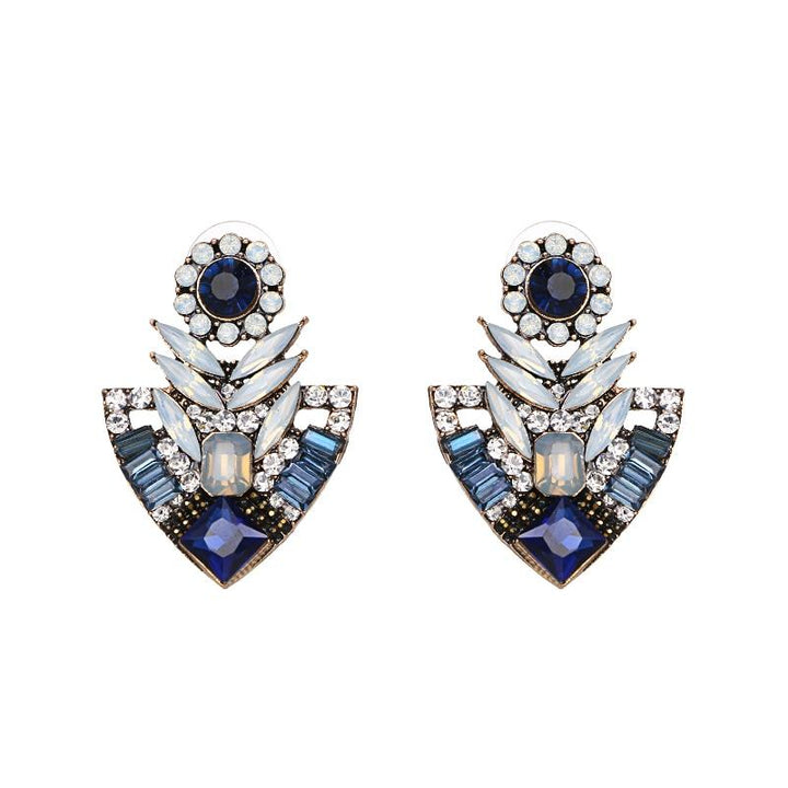 Crystal Geometric Drop Earrings earrings Vinty Jewelry Blue