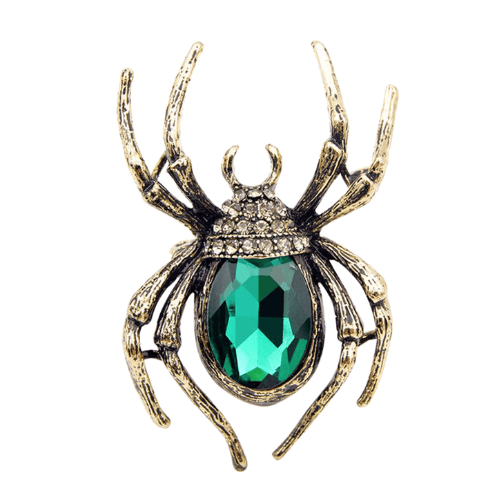 Crystal Spider Brooch brooch Vinty Jewelry Green