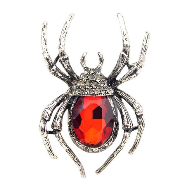 Crystal Spider Brooch brooch Vinty Jewelry Red