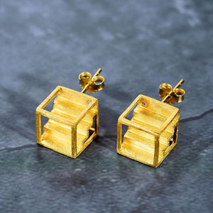 Cubic Staircase Earrings earrings Vinty Jewelry Gold