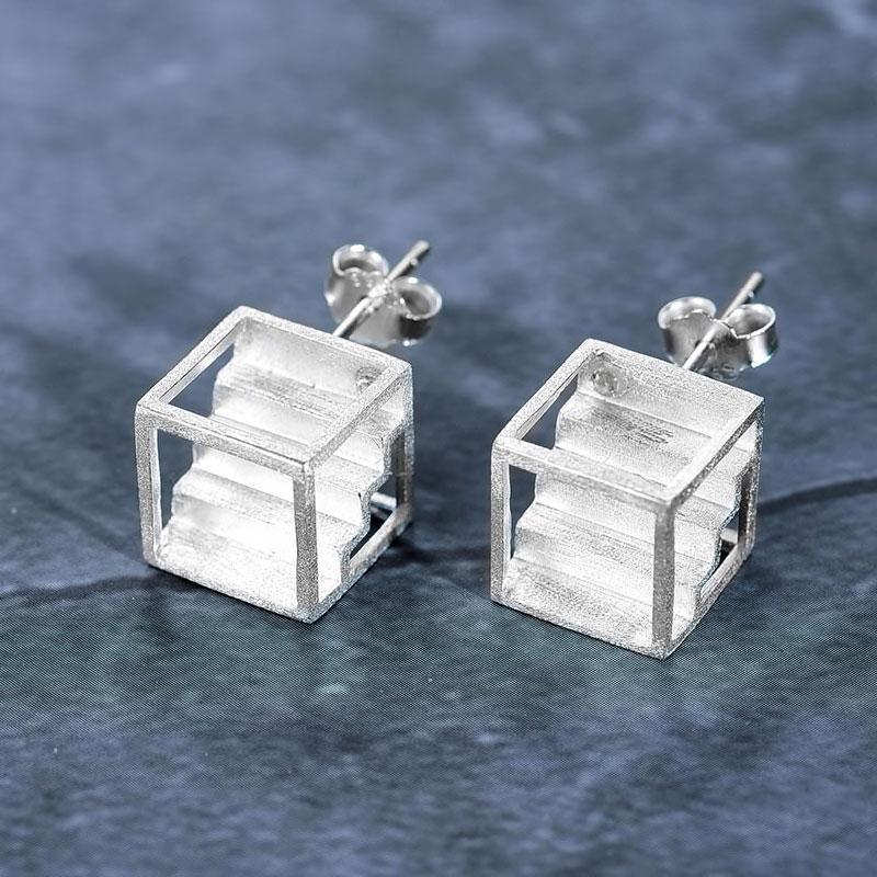 Cubic Staircase Earrings earrings Vinty Jewelry Silver