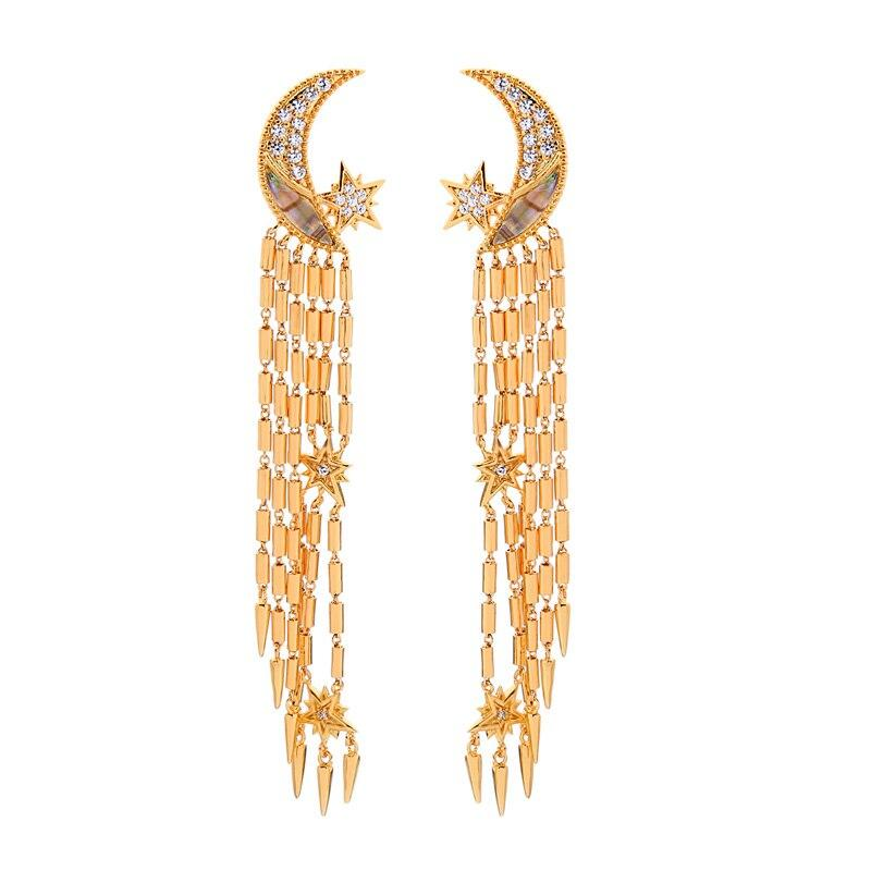 Cubic Zirconia Crescent Moon Earrings With Gold Tassels earrings Vinty Jewelry