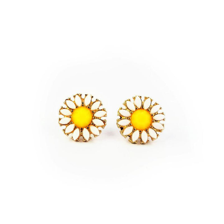 Cute Daisy Flowers Stud Earrings earrings vintyjewelry
