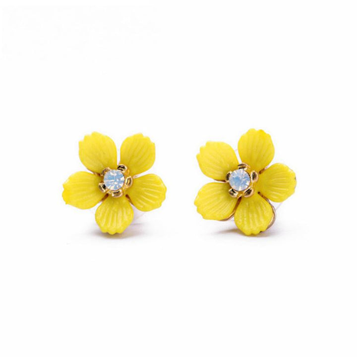 Cute Yellow Flower Stud Earrings earrings Vinty Jewelry