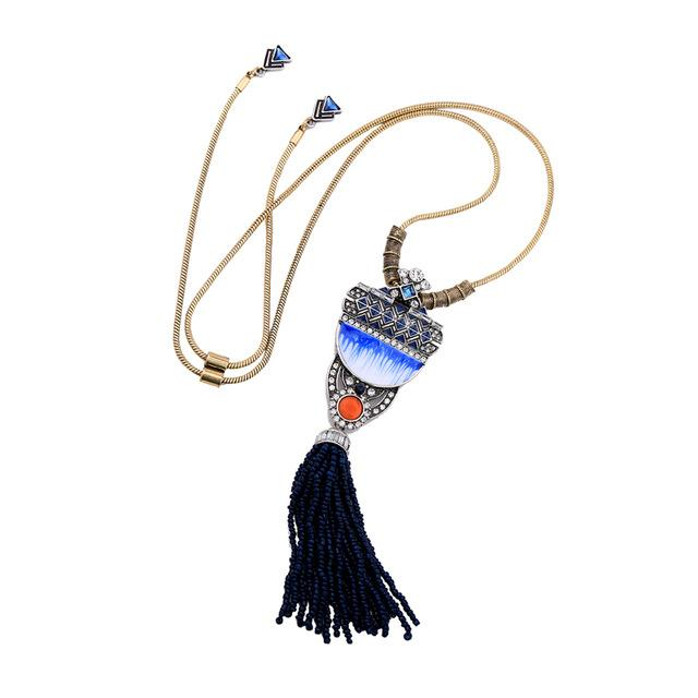 Deco Blue Enamel Tassel Pendant Necklace necklace Vinty Jewelry