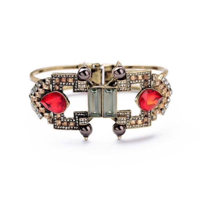 Deco Cuff Bracelet With Red Gemstones bracelet Vinty Jewelry
