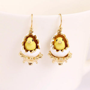 Easter Chicken Hatching Out of Eggs Earrings earrings Vinty Jewelry