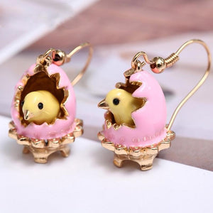 Easter Chicken Hatching Out of Eggs Earrings earrings Vinty Jewelry Light pink