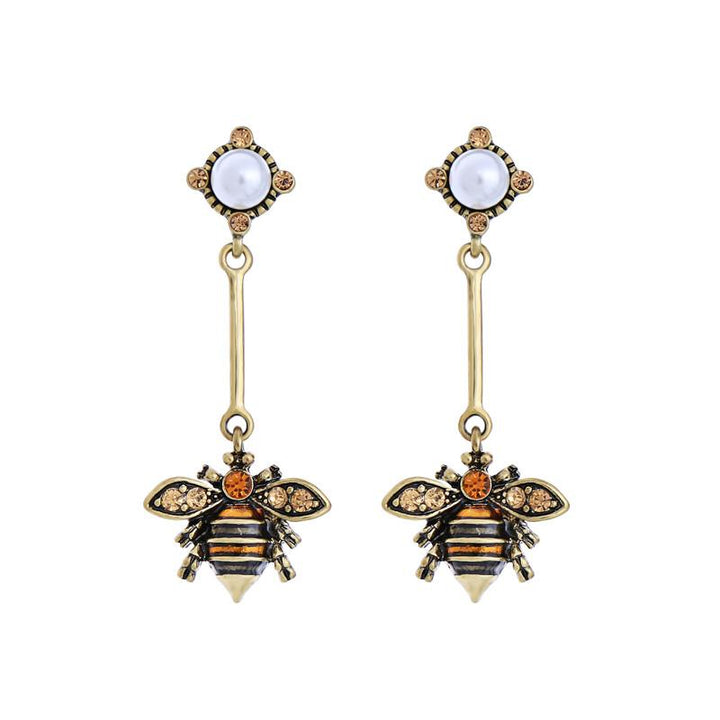 Enamel Bee With Rhinestone Wings Dangle Earrings earrings Vinty Jewelry