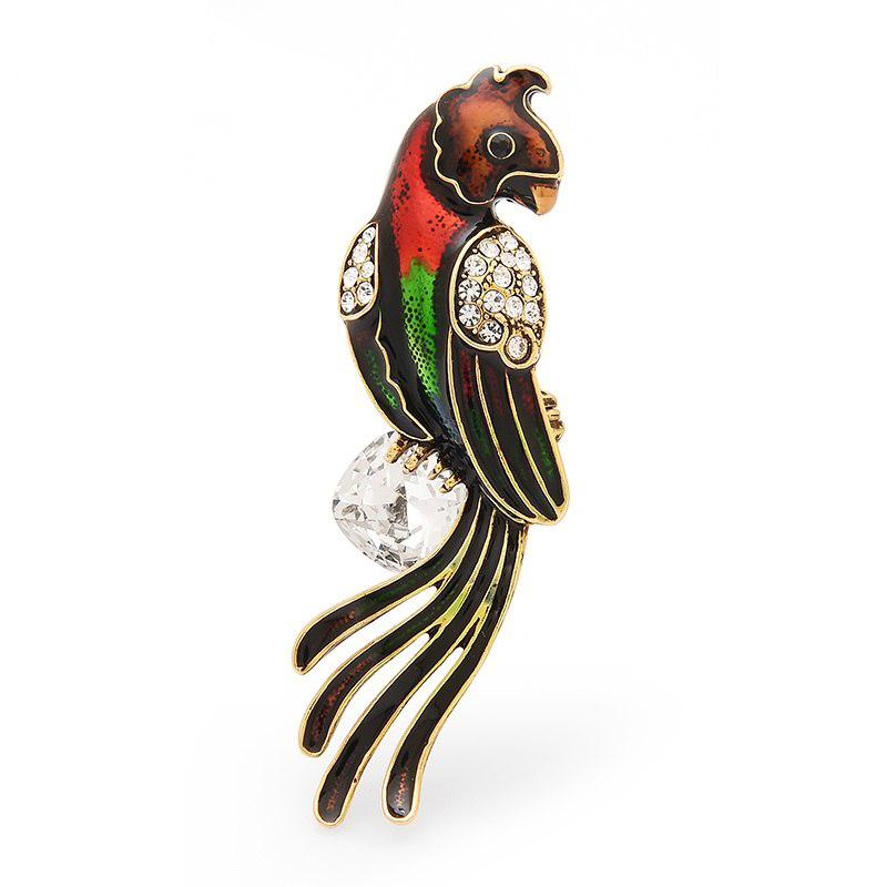 Enamel Crystal Parrot Brooch brooch Vinty Jewelry red