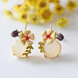 Enamel Flower and Ladybug Drop Earrings earrings Vinty Jewelry