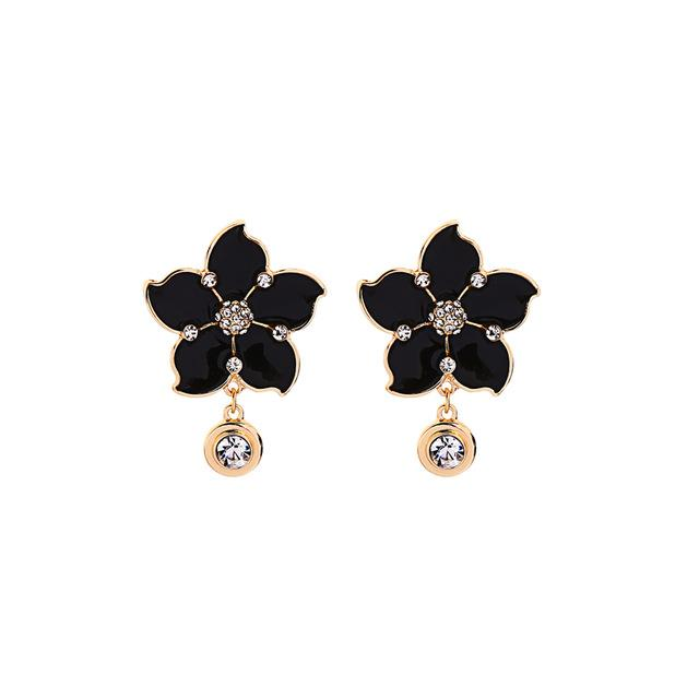Enamel Flower Earrings With Dangling Rhinestones earrings Vinty Jewelry
