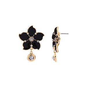 Enamel Flower Earrings With Dangling Rhinestones earrings Vinty Jewelry Black