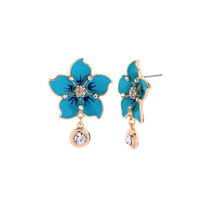 Enamel Flower Earrings With Dangling Rhinestones earrings Vinty Jewelry Blue