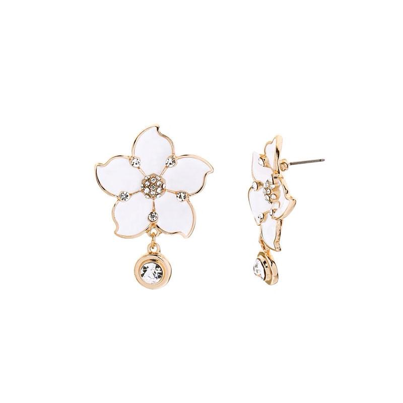 Enamel Flower Earrings With Dangling Rhinestones earrings Vinty Jewelry White