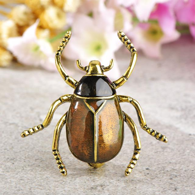 Enamel Garden Chafer Insect Brooch brooch Vinty Jewelry