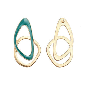 Enamel Geometric Drop Earrings earrings Vinty Jewelry