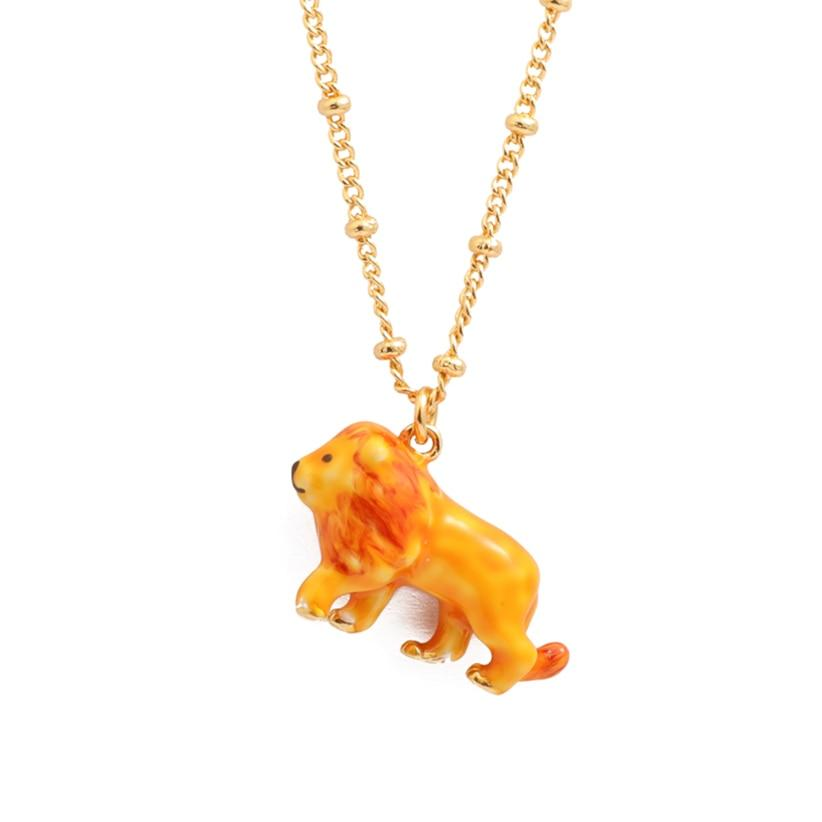 Enamel Lion Pendant Necklace necklace Vinty Jewelry