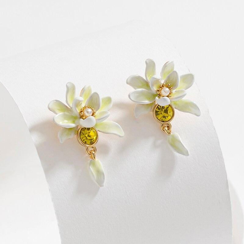 Enamel Magnolia Flower Earrings earrings Vinty Jewelry