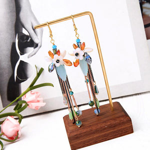 Floral Earrings With Beaded Chains earrings Vinty Jewelry