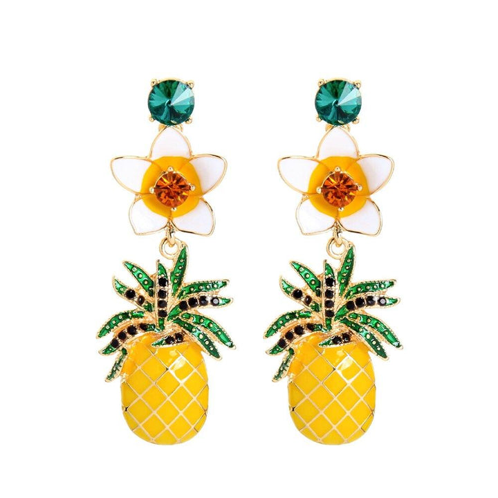 Floral Pineapple Dangle Earrings earrings Vinty Jewelry