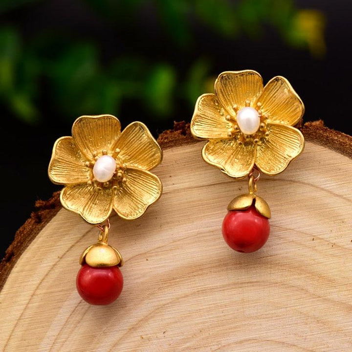 Flower Earrings With Red Natural Stones earrings Vinty Jewelry