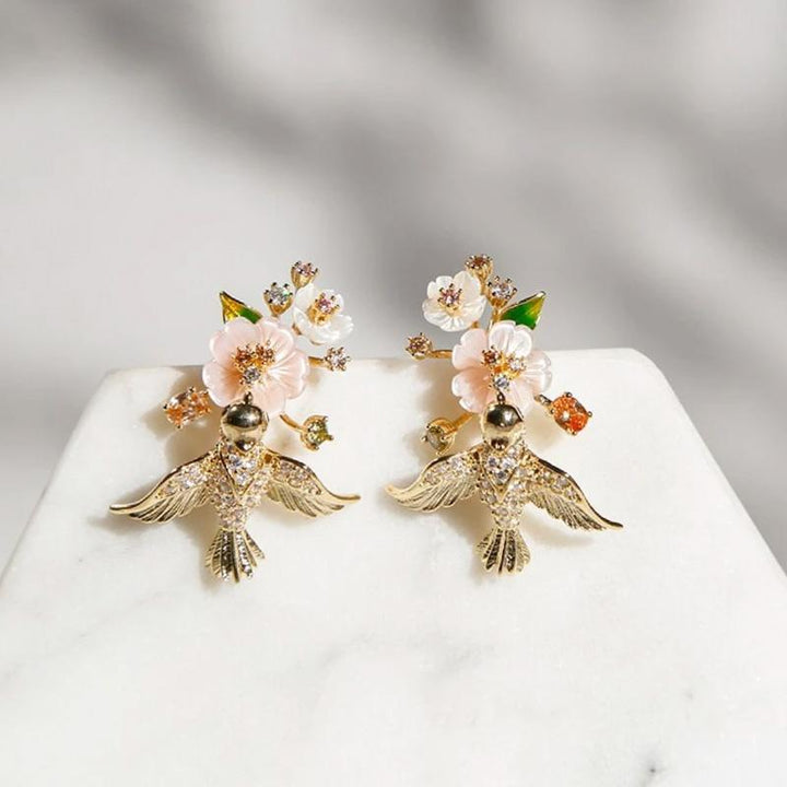 Flying Birds and Flowers Drop Earrings earrings Vinty Jewelry