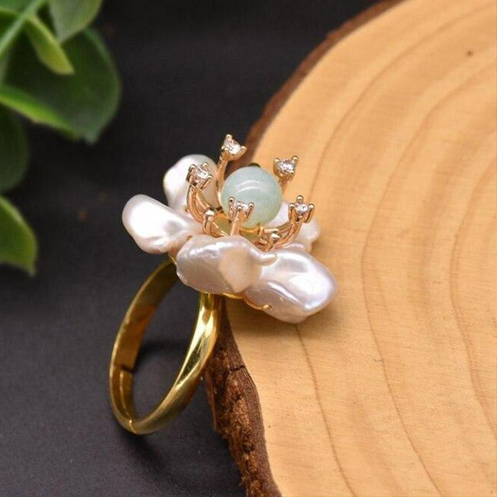 Freshwater Pearl Flower Ring ring Vinty Jewelry