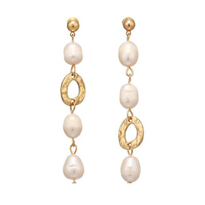 Freshwater Pearl Long Dangle Earrings earrings Vinty Jewelry