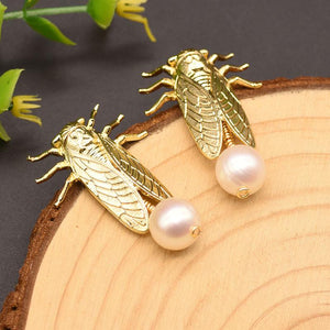 Gold Cicada Drop Earrings earrings Vinty Jewelry