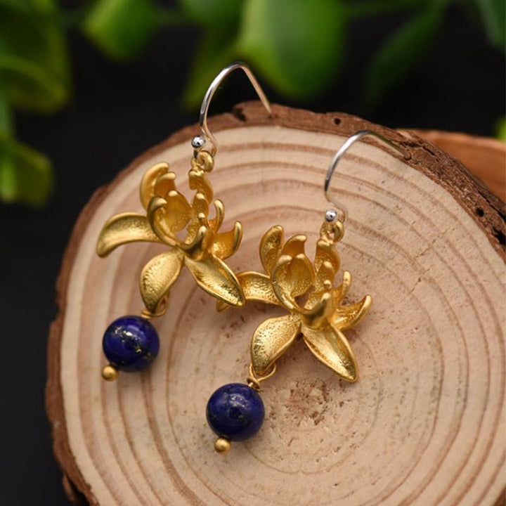 Gold Lotus Dangle Earrings earrings Vinty Jewelry