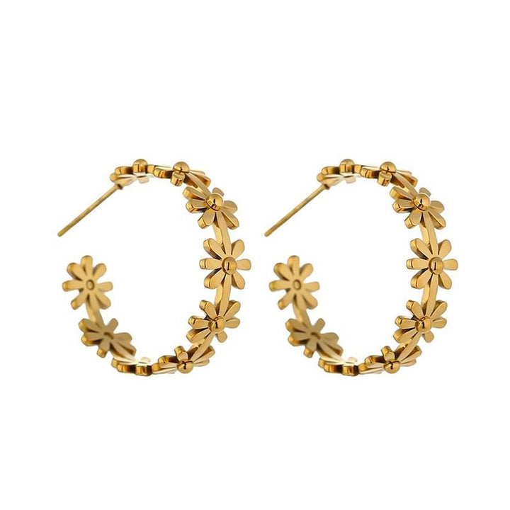 Gold Metal Daisy Hoop Earrings earrings Vinty Jewelry