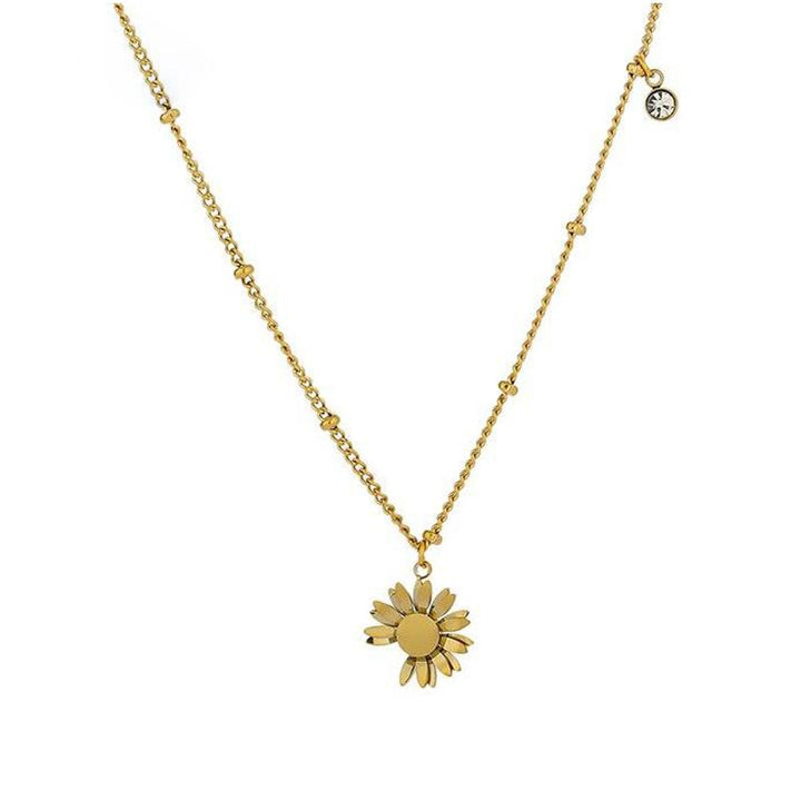 Gold Metal Daisy Pendant Necklace necklace Vinty Jewelry