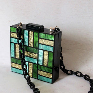 Green Marble Glitter Square Box Bag bag Vinty Jewelry