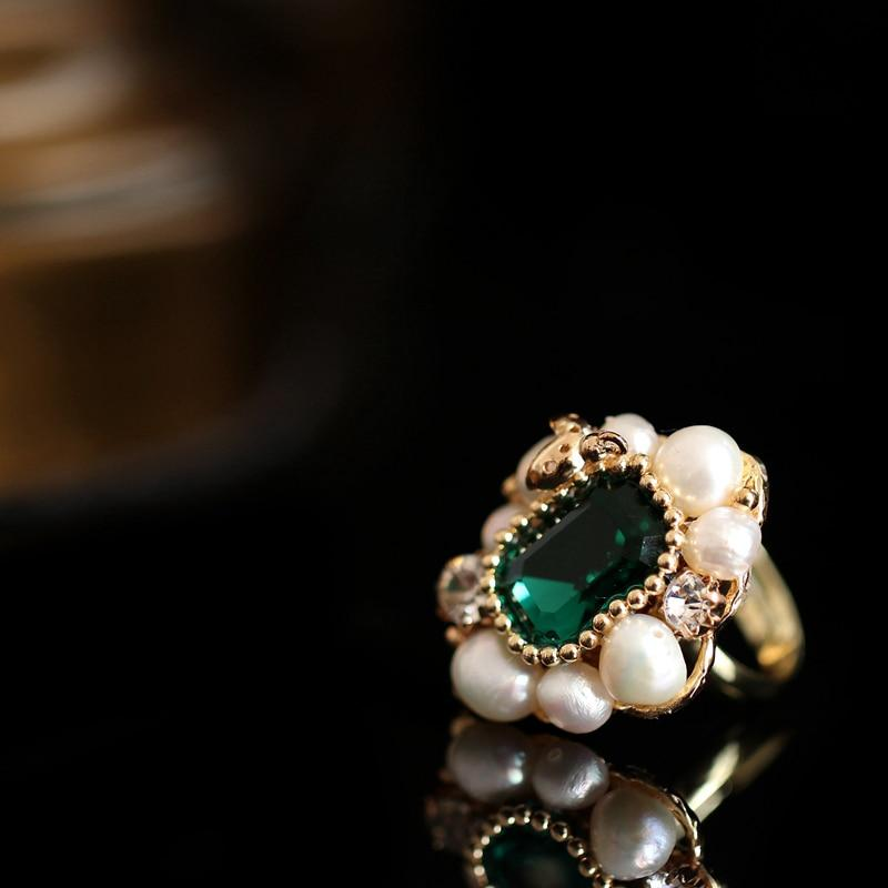 Green Stone Ring With Pearls ring Vinty Jewelry