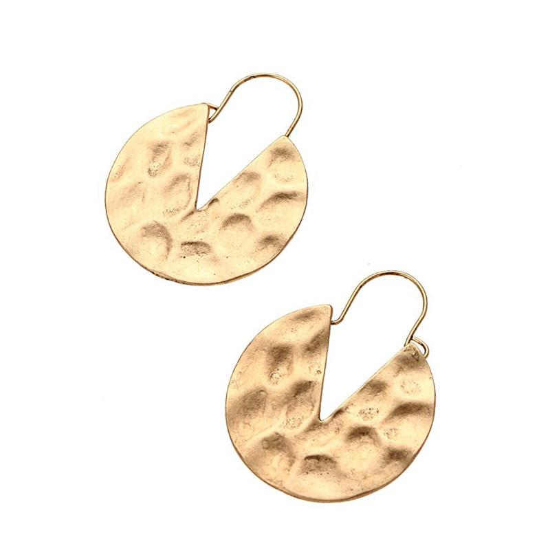 Hammered Textured Drop Earrings earrings Vinty Jewelry gold