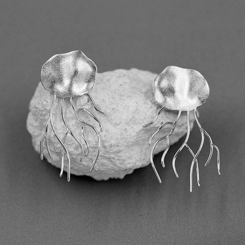 HAZIR INATURE 925 Sterling Silver Jelly Fish Stud Earrings for Women Gift Fine Jewelry earrings Vinty Jewelry Silver