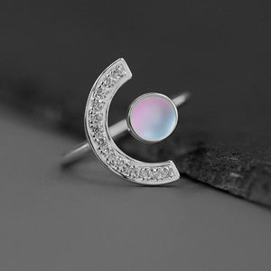 HAZIR INATURE 925 Sterling Silver Moon Star Rings For Women Fashion Geometric Opening Finger Ring Jewelry ring Vinty Jewelry