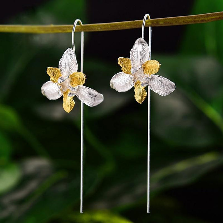 HAZIR Lotus Fun 18K Gold Iris Flower Dangle Earrings Real 925 Sterling Silver Handmade Designer Fine Jewelry Earrings for Women Bijoux Vinty Jewelry