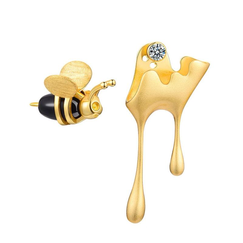 Honey and Bee Mismatched Earrings earrings Vinty Jewelry gold