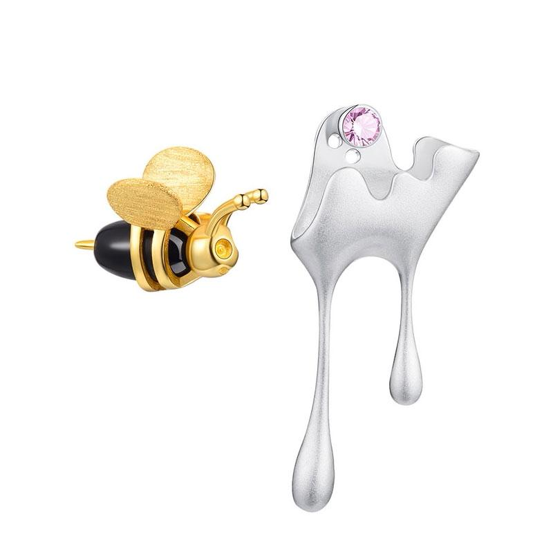 Honey and Bee Mismatched Earrings earrings Vinty Jewelry silver